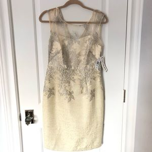 Kay Unger Metallic Shift Dress in Butter NWT
